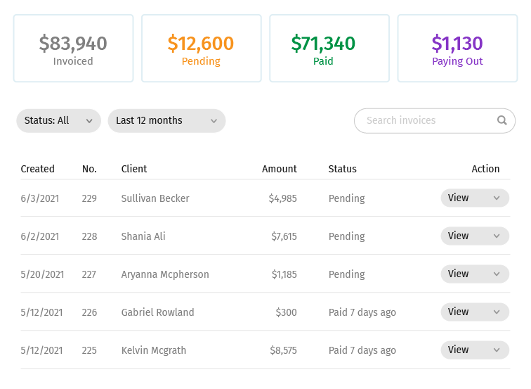taskruler invoices